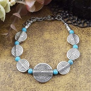 Jewelry - Tibetan Silver Boho Round Turquoise Stone Bracelet